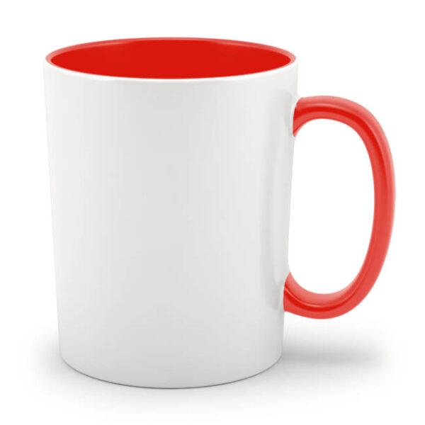 Кружка красная внутри и с красной ручкой