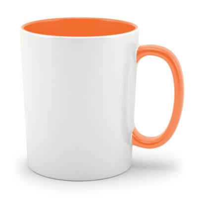 Кружка оранжевая внутри и с оранжевой ручкой