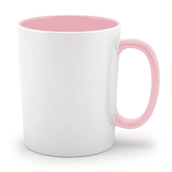 Кружка розовая внутри и с розовой ручкой