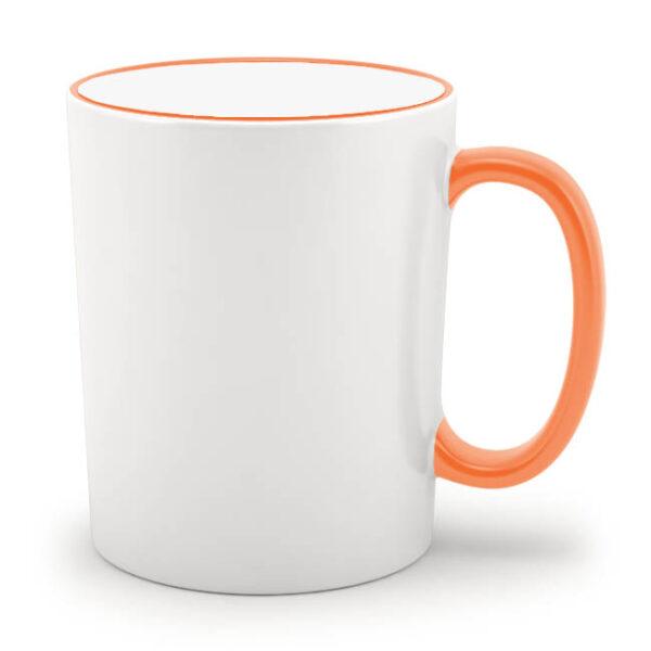 Кружка с оранжевым ободком и оранжевой ручкой