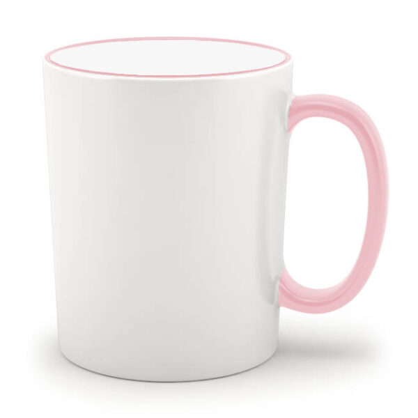 Кружка с розовым ободком и розовой ручкой