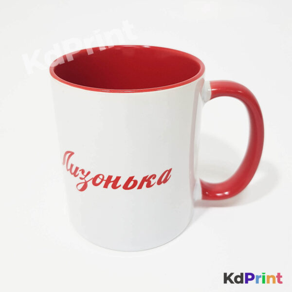 Печать на кружках красных внутри с красной ручкой
